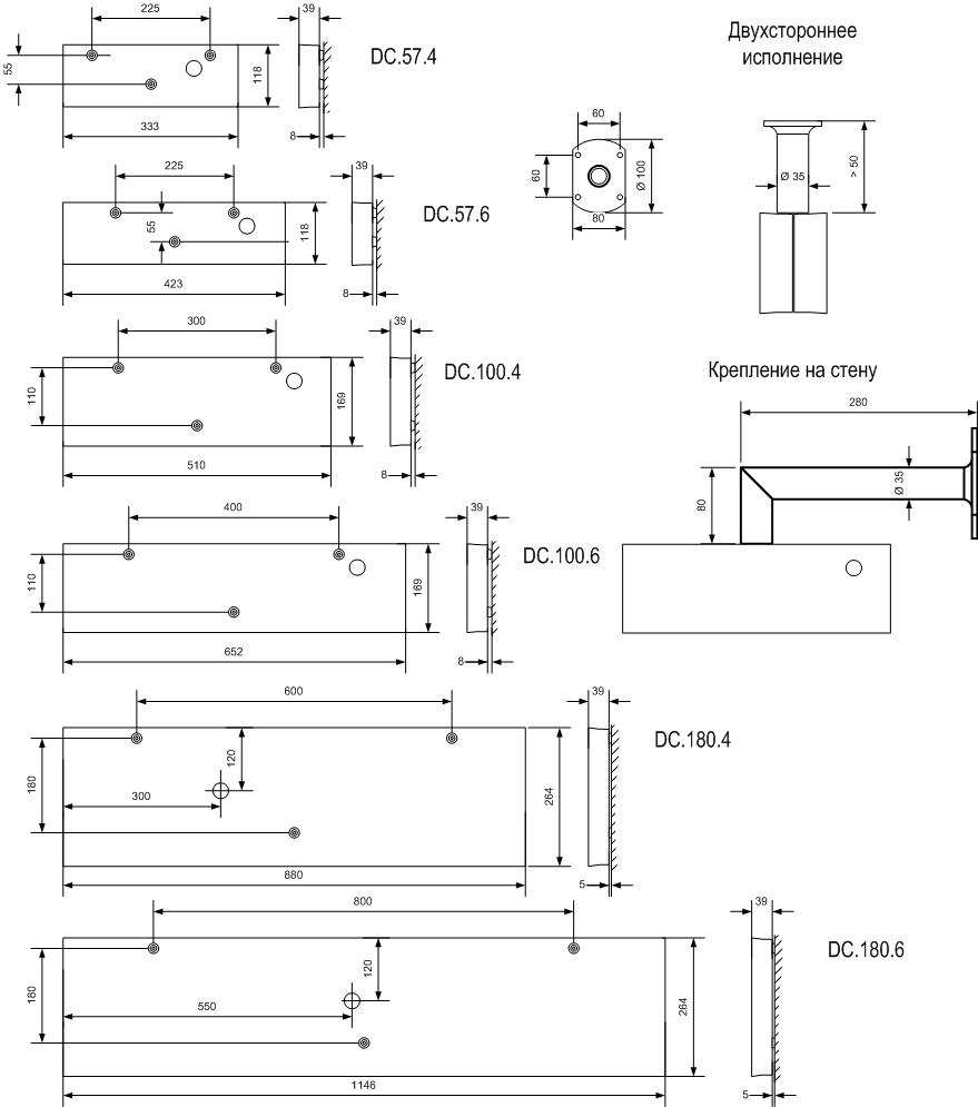 Цифровые часы серии DC - габаритные и установочные размеры