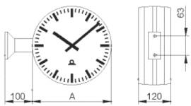 Двухсторонние часы с монтажным комплектом