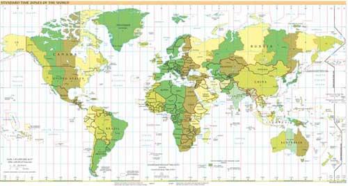 Карта временных зон